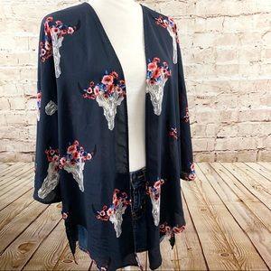Altard State cow skull boho blouse kimono